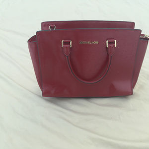 Michael Kors Red Saffiano Leather Tote Bag